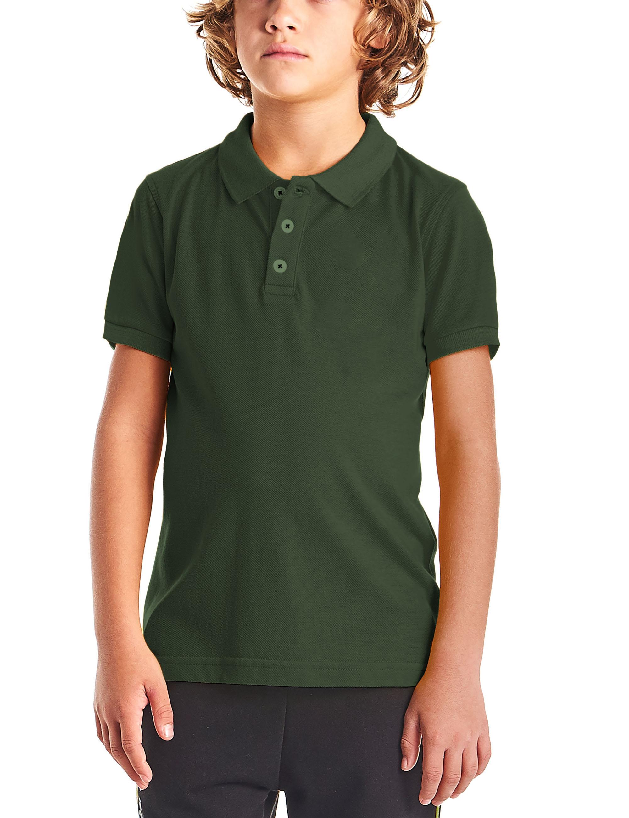 Kids Pique Polo Shirt Solid Plain Short Sleeve Uniform Regular Fit