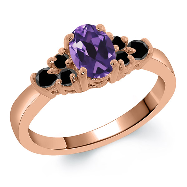 0.65 Ct Oval Purple Amethyst Black Diamond 925 Rose Gold Plated Silver Ring