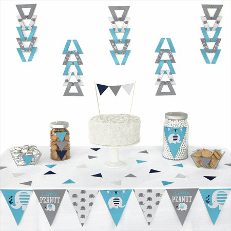 Blue Elephant - Triangle Boy Baby Shower or Birthday Party Decoration Kit - 72 - Boy Party Decorations
