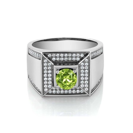 1.95 Ct Round Green Peridot 925 Sterling Silver Men's