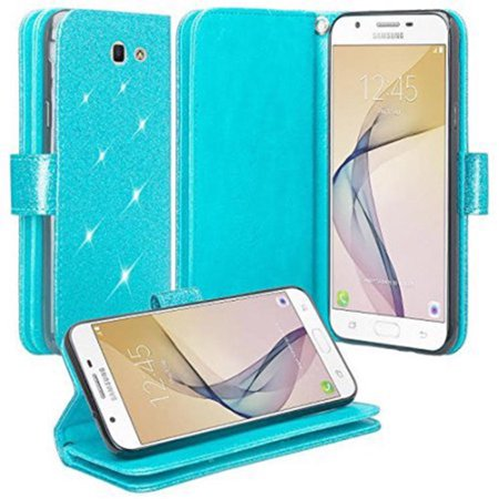 Samsung Galaxy J7 Prime, J7 V, J7 Perx, J7 Sky Pro, Halo Case - Wydan Bling Glitter Wallet Card Slot Kickstand Feature w/ Strap Sparkle Phone Cover - (Samsung Galaxy S3 Best Features)