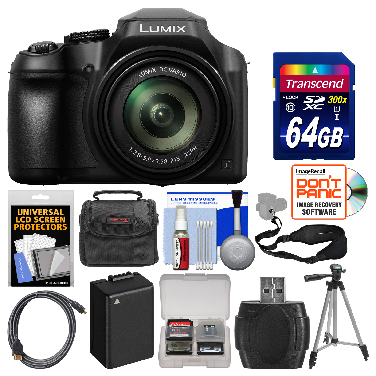 Panasonic Lumix DC-FZ80 4K Wi-Fi Digital Camera with 64GB Card + Case + Battery + Tripod + Sling Strap + Kit