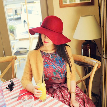 6d9ab3290df2 High Class England Style Women Big Wide Brim Felt Hat Vintage Solid Color  Ladies Hat Floppy ...