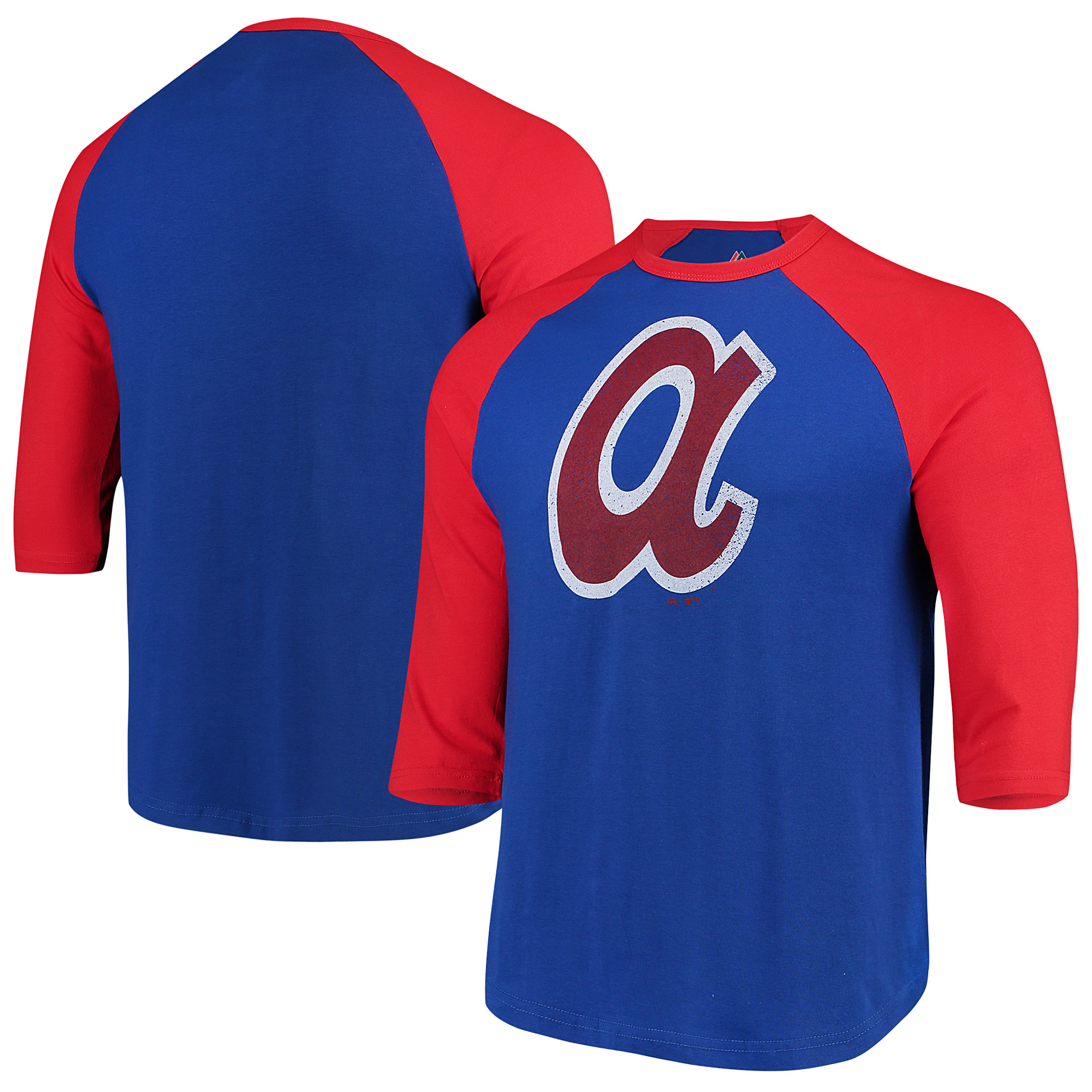 Atlanta Braves Majestic Cooperstown Collection Special Invitation Tri-Blend 3/4-Sleeve Raglan T-Shirt - Royal