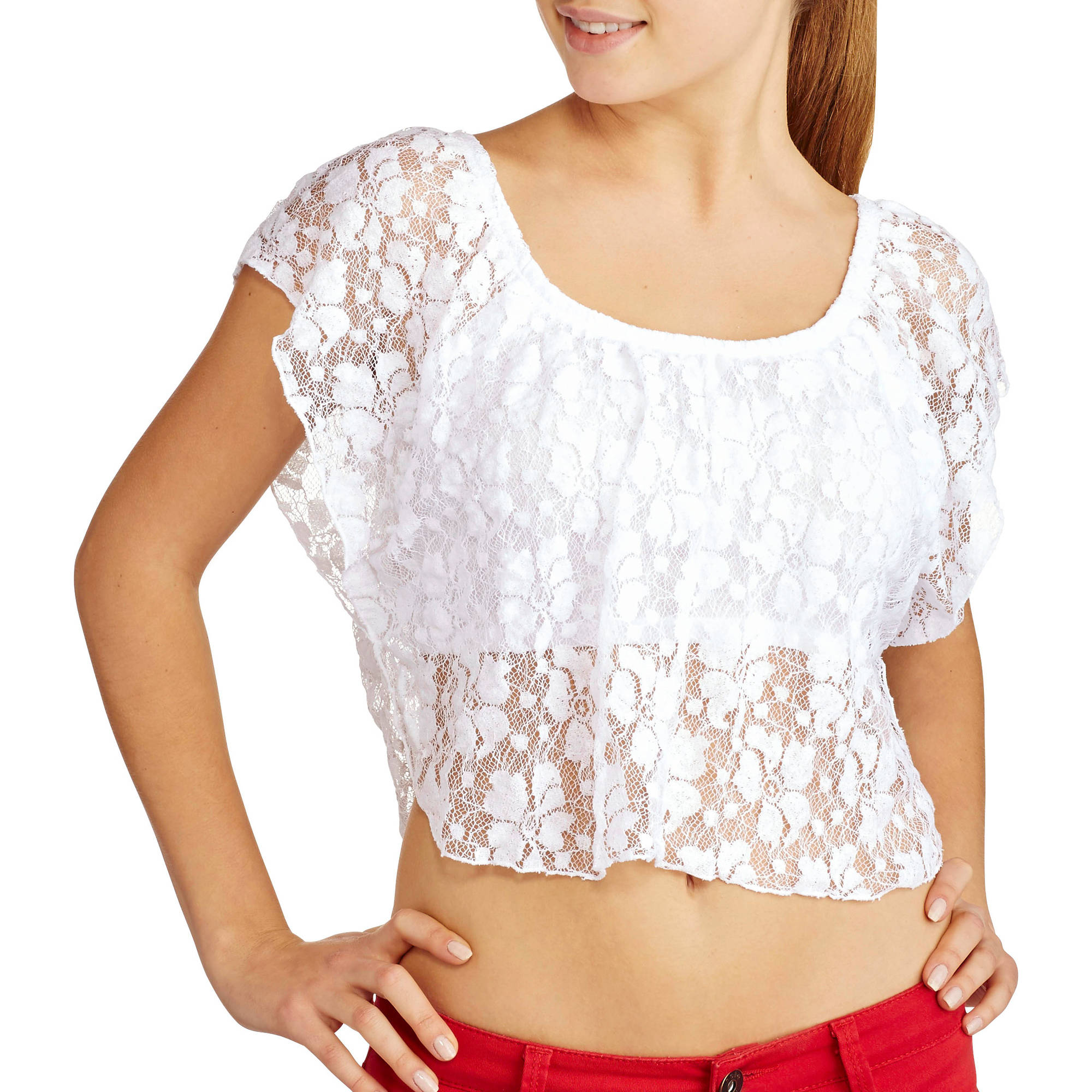 Derek Heart Juniors Lace Circle Top