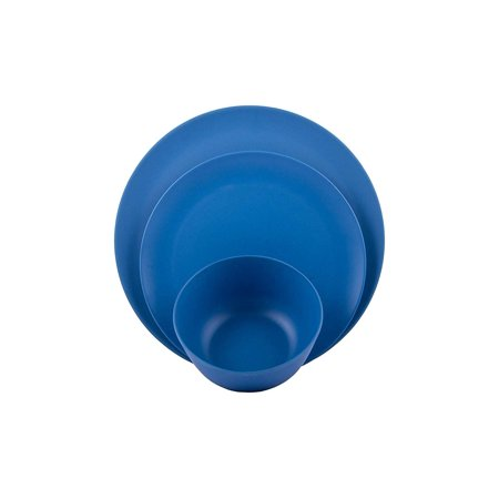 Melange 12 Piece Bamboo Dinnerware Set Rounds Collection Shatter Proof And Chip Resistant Bamboo Plates And Bowls Color Blue Dinner Plate Salad Plate Soup Bowl 4 Each Walmart Com Walmart Com