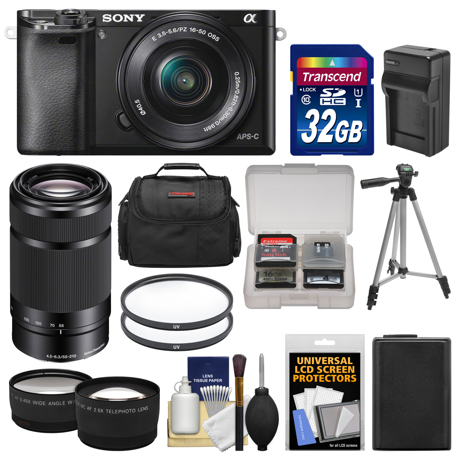 Sony Alpha A6000 Wi-Fi Digital Camera & 16-50mm & 55-210mm Lens with 32GB Card   Case   Battery/Charger   Tripod   Tele/Wide Lens Kit