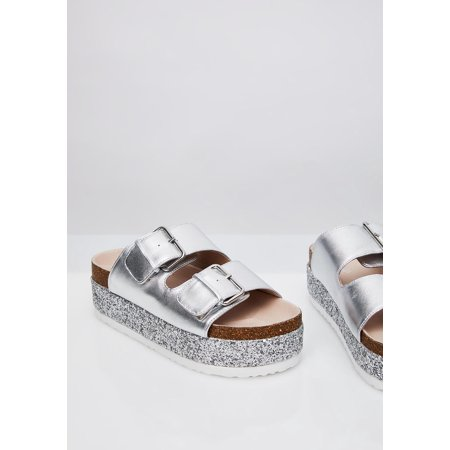 Shellys London Hawaii Silver Metallic Leather Glitter Platform Slide Sandals