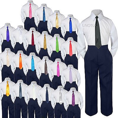 Baby Toddler Kid Boys Wedding Formal 3pc Set Shirt Navy Pants Necktie Suit S-7](Baby Boy Wedding Suits)