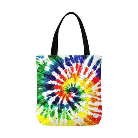 ASHLEIGH Abstract Rainbow Tie Dye Hippie Boho Style Unisex Canvas Tote Canvas Shoulder Bag Resuable Grocery Bags Shopping Bags for Women Men Kids