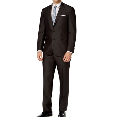 Kenneth Cole Reaction NEW Dark Gray Mens Size 36 Two Button Suit Set Button Fly Suit