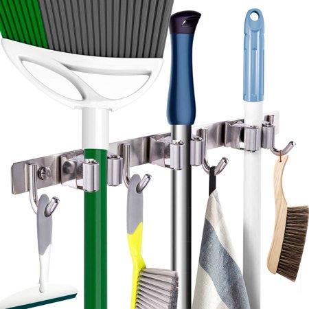Mop Broom Holder Heavy Duty Tool Hanger Wall Mounted 15â? Stainless Steel Organizer for Lanudry Garden Garage Tools Rack Storage Durable Mop hanger