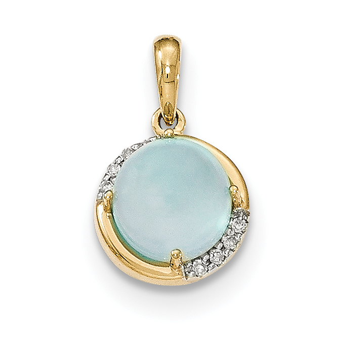 14k Blue Chalcedony and Diamond Pendant by CoutureJewelers