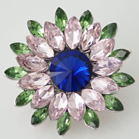 1 PC 18MM Green Pink Flower Rhinestones Silver Candy Snap Charm KB8672 CC0422 ()