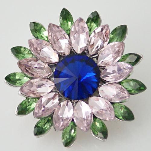 1 PC 18MM Green Pink Flower Rhinestones Silver Candy Snap Charm KB8672 CC0422