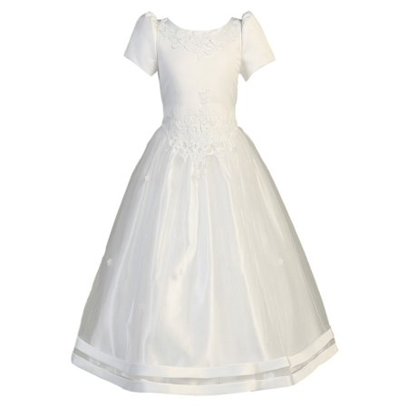 Lito Girls White Satin Ribbon Tulle Overlay First Communion Dress - Ribbon Back Dress