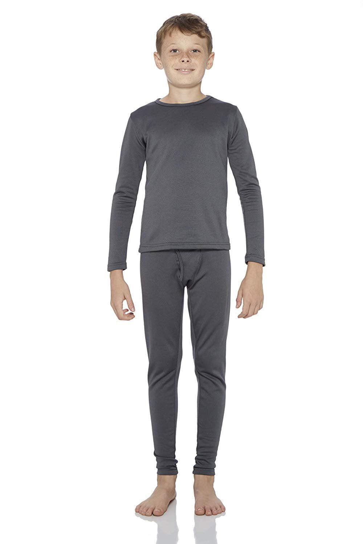 Rocky Boy's Ultra Soft Fleece Lined Thermal Underwear 2 PC Set Long John Top and Bottom (L, Navy)