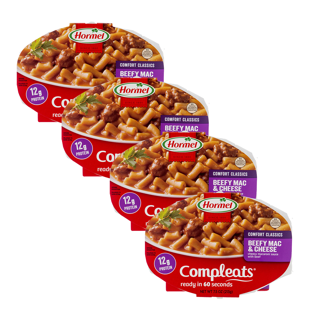 (4 Pack) Hormel Compleats Beefy Mac & Cheese, 7.5 Ounce
