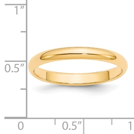 14k Yellow Gold 3mm Half Round Wedding Ring Band Size 7.00 Classic Domed Fine Jewelry Gifts For Women For Her - image 3 de 9