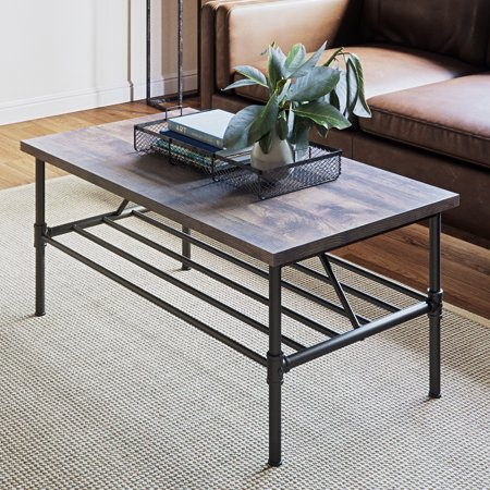 Stone Top Coffee Table - Max Industrial Pipe Coffee Table, 41 Inch Matte Black Metal Frame, Rustic Nutmeg Wood Top