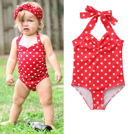 The Noble Collection Infant Kids Baby Girls Polka Dot Swimsuit Swimwear Swimming One-piece Bikini