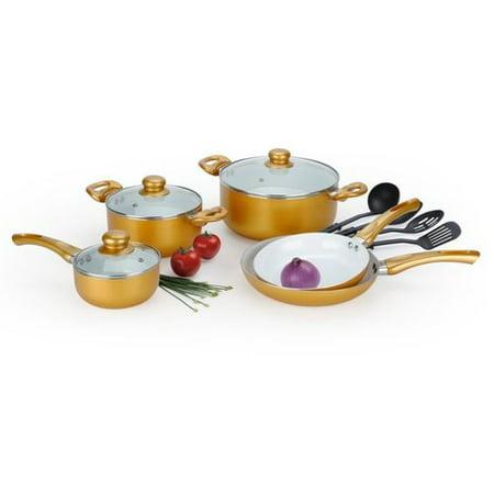 Alpine cuisine kaau cw12 12 piece ceramic cookware set for Alpine cuisine cookware set
