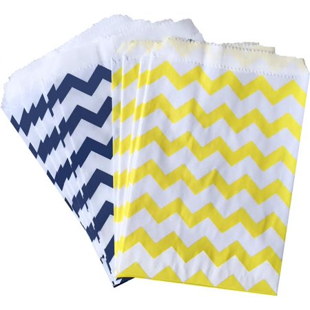 Navy Blue, Yellow and White Chevron Paper Bags - Favor Sacks  48](Navy And Yellow Wedding)