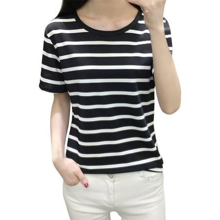Korean Style Trendy Fashion - Ready Stock Fashion Women Tops Korean Pullover Short Sleeve O-Neck Stripe Shirt
