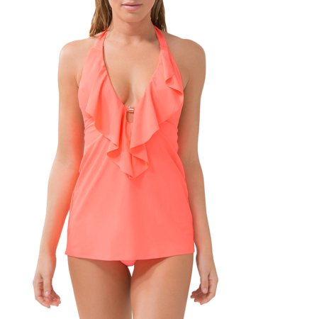 Smart & Sexy Women'sSmart & Sexy Women's Wirefree Ruffle Plunge Tankini Swimsuit Top With Added Length