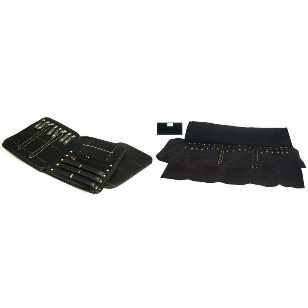 Black Faux Leather Travel Jewelry Display Case & Velvet C...