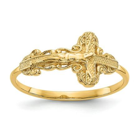 (Solid 14k Yellow Gold Diamond-Cut Crucifix Cross Ring (2mm) - Size 4)
