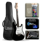 AT-1202BLPK Ameritone Play A Tab Electric ST black guitar with bag and headphone amp