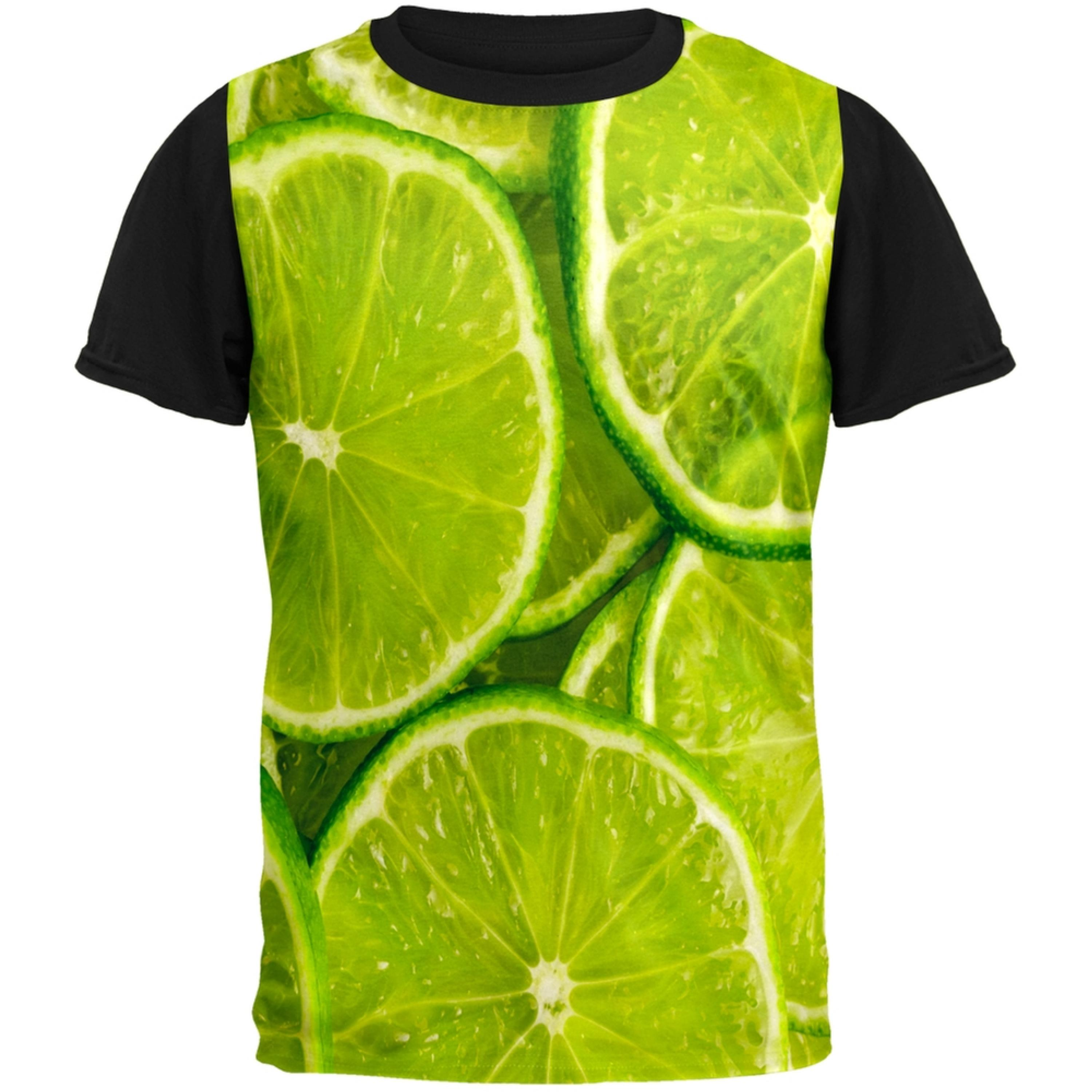Lime Limes Citrus Adult Black Back T-Shirt