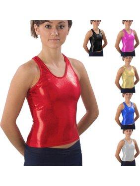 02f36238d3 Product Image Pizzazz Womens Metallic Silver Racerback Tank Top XXL