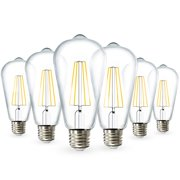 Sunco Lighting ST64 LED Bulb, Dimmable, Waterproof, 8.5W (60W), 5000K Daylight, Vintage Edison Filament Bulb, 800 LM, E26 Base, Restauarant or String Lights - 6 Pack