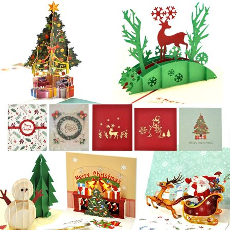Christmas Cards, eZAKKA 3D Christmas Cards Pop Up Holiday Greeting Gifts Cards with Envelopes for Xmas Merry Christmas New Year, 5-Pack - 3d Halloween Card