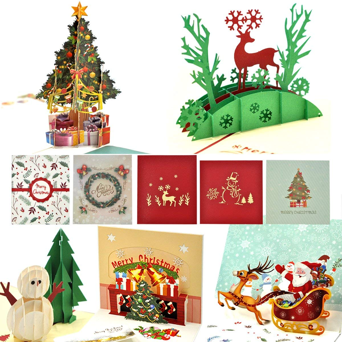 Christmas Cards, eZAKKA 3D Christmas Cards Pop Up Holiday Greeting Gifts Cards with Envelopes for Xmas Merry Christmas New Year, 5-Pack