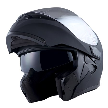 1Storm Motorcycle Street Bike Modular Flip up Dual Visor Full Face Helmet Matt Black -