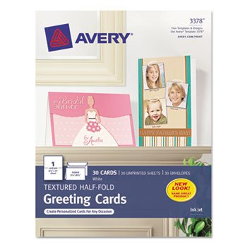 avery Textured Half-Fold Greeting Cards, Inkjet, 5 1/2 x 8 1/2, Wht, 30/Bx w/Envelopes, Create custom cards perfect for invitations, announcements and other.., By Avery - Frozen Custom Invitations