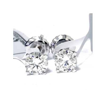 IGI Certified 1 Carat Round Diamond Studs 14K White Gold Screw back Earrings (1 cttw, G-H Color, SI2-I1 Clarity)