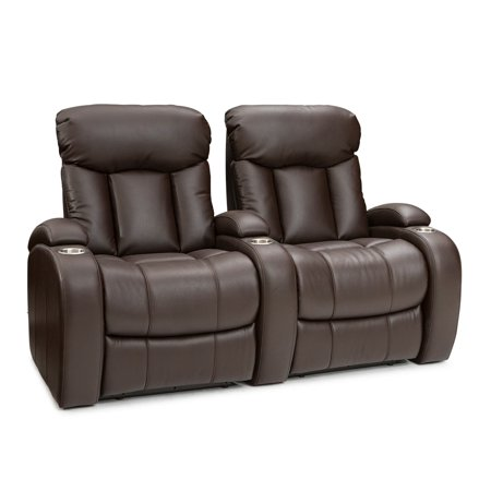Seatcraft  Sausalito Leather Gel Home Theater Seating Manual Recline with Cup Holders Brown Row of 2 Connector Home Theater Seat