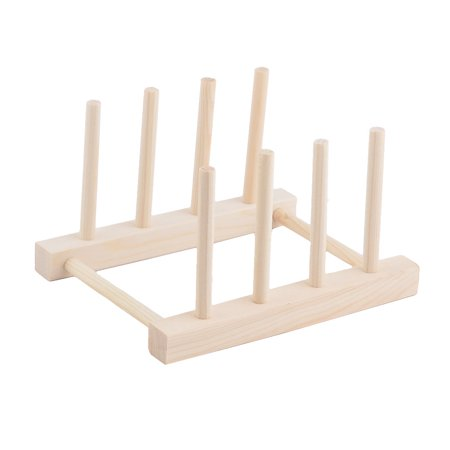 Wood Dish Bowl Cup Plate Holder Organizer Drying Rack