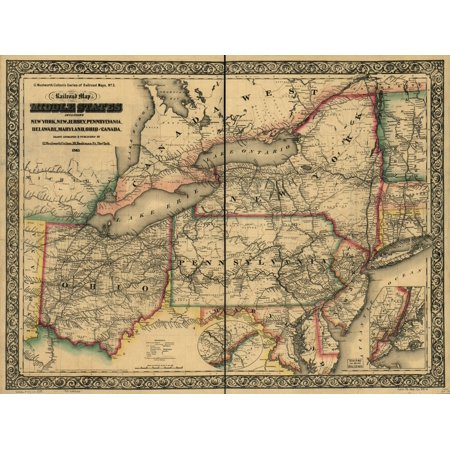 LAMINATED POSTER24x36 New railroad map of the middle states including New York, New Jersey, Pennsylvania, Delaware, Maryland, Ohio and Canada; drawn, engraved & published by G. Woolworth - Pet Supplies Plus Delaware Ohio