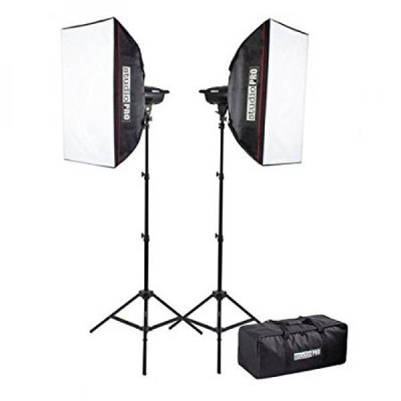 StudioPRO 400 Watt Monolight Strobe Flash Photography Lighting Kit for Wedding, Food Blogging, Portrait, Product Photo - (2) 200W/s Flash Head with Light Stands & 20x28