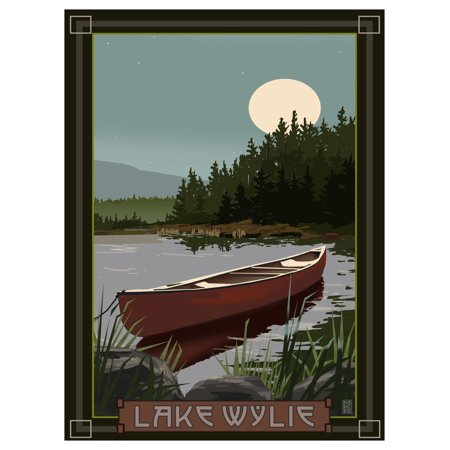 Canoes Poster Print (Lake Wylie South Carolina Canoe In Moonlight Travel Art Print Poster by Mike Rangner (9
