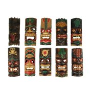 Set of 10 Hand Carved Tropical Island Style Tiki Masks 12 Inch
