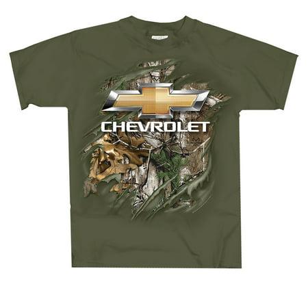 GM Realtree Chevy Bowtie Rip Thru Adult Short Sleeve T-shirt (Make Ripped Shirt Halloween)