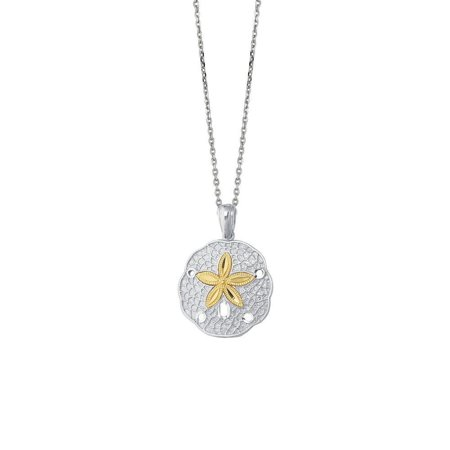 Sterling Silver 14k Gold-Flashed Gold Chain Necklace Sand Dollar Pendant Star Fish - 18 Inch