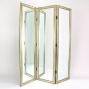 Wayborn Mirror with Frame Full Size Dressing Room Divider in Silver