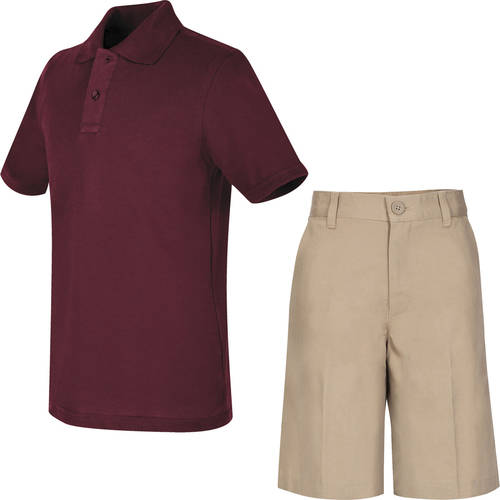 REAL SCHOOL Boys Uniform Outfit Polo Shirt and Shorts Value Bundle